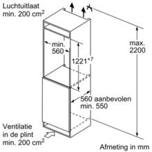 Maattekening SIEMENS koelkast inbouw KI42LVF30