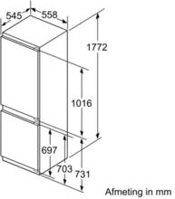 Maattekening SIEMENS koelkast inbouw KI86SGD30