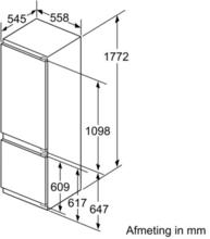 Maattekening SIEMENS koelkast inbouw KI87SAF30