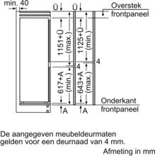 Maattekening SIEMENS koelkast inbouw KI87SAFE0