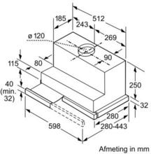 Maattekening SIEMENS afzuigkap vlakscherm LI28031