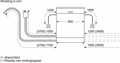 Maattekening SIEMENS vaatwasser rvs-look SE23HI60CE