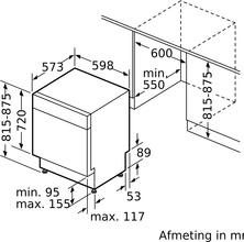 Maattekening SIEMENS vaatwasser onderbouw SE43HS36TE