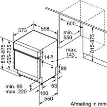 Maattekening SIEMENS vaatwasser inbouw SE53HS60AE