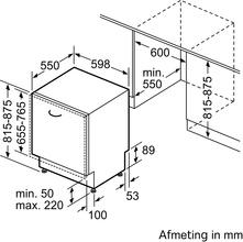 Maattekening SIEMENS vaatwasser inbouw SE73HX60CE
