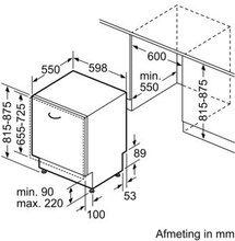 Maattekening SIEMENS vaatwasser inbouw SN63HX52AN