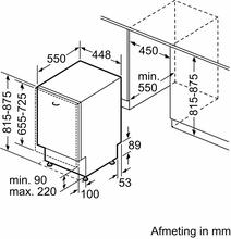 Maattekening SIEMENS vaatwasser inbouw SP63HX64KE