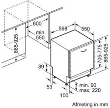 Maattekening SIEMENS vaatwasser inbouw SX68M058EU