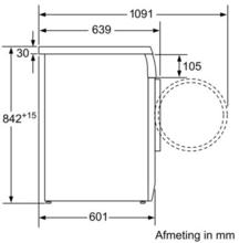 Maattekening SIEMENS droger warmtepomp WT46W382NL