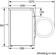 Maattekening SIEMENS droger warmtepomp WT47O5C9NL