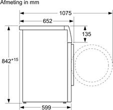 Maattekening SIEMENS droger warmtepomp WT47W5E7NL