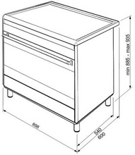 Maattekening SMEG fornuis inductie antraciet BG91IAN9