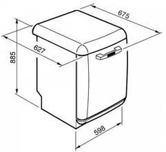 Maattekening SMEG vaatwasser zilver metallic BLV2X2