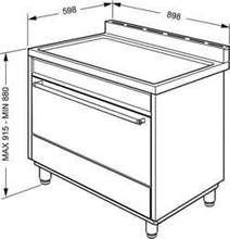 Maattekening SMEG fornuis rvs DS9GMX
