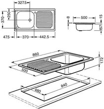 Maattekening SMEG spoelbak inbouw LX861S2