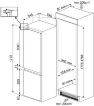 Maattekening SMEG vrieskast inbouw S8F174NE