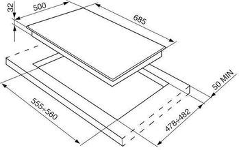 Maattekening SMEG kookplaat inbouw SR275XGHNLK