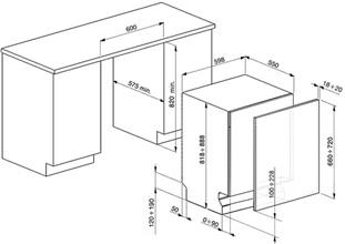 Maattekening SMEG vaatwasser inbouw ST323PT
