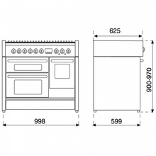Maattekening STEEL fornuis gas Ascot A10FFF-D-6W