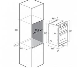 Maattekening STEEL oven dubbel inbouw Genesi GFFE6