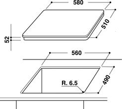 Maattekening WHIRLPOOL kookplaat inductie ACM806BA