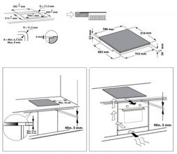 Maattekening WHIRLPOOL kookplaat inductie ACM808NE