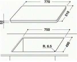 Maattekening WHIRLPOOL kookplaat inductie ACM813BA