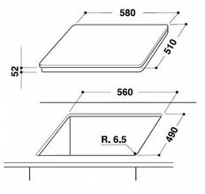 Maattekening WHIRLPOOL kookplaat inductie ACM816BA