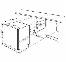 Maattekening WHIRLPOOL vaatwasser inbouw ADG6400