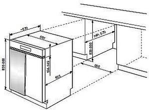 Maattekening WHIRLPOOL vaatwasser inbouw ADG8575IX