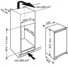 Maattekening WHIRLPOOL vrieskast inbouw AFB829/A+