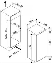 Maattekening WHIRLPOOL vrieskast inbouw AFB900