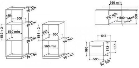 Maattekening WHIRLPOOL oven inbouw AKP738IX
