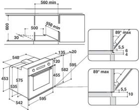 Maattekening WHIRLPOOL oven inbouw AKP745IX