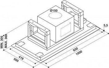 Maattekening WHIRLPOOL afzuigkap plafondunit AKR1050IX