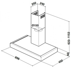 Maattekening WHIRLPOOL afzuigkap AKR559/2IX