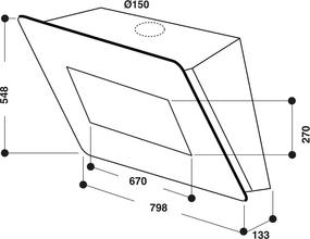Maattekening WHIRLPOOL afzuigkap wand zwart AKR855GBL