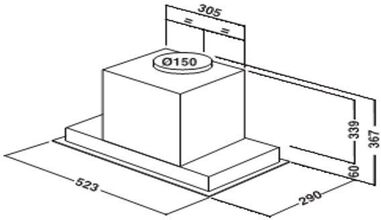 Maattekening WHIRLPOOL afzuigkap inbouw AKR860IX