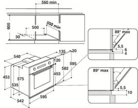 Maattekening WHIRLPOOL oven inbouw AKZ6270IX
