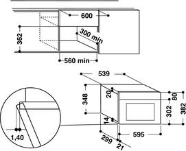 Maattekening WHIRLPOOL magnetron inbouw AMW423IX
