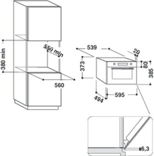 Maattekening WHIRLPOOL magnetron met grill AMW439IX