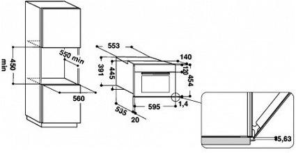 Maattekening WHIRLPOOL combi-magnetron inbouw AMW504IX