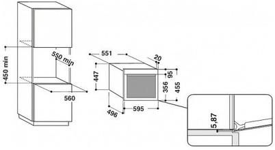 Maattekening WHIRLPOOL combi-stoomoven inbouw AMW583IX