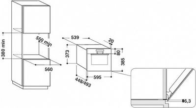 Maattekening WHIRLPOOL magnetron met grill inbouw AMW735IX