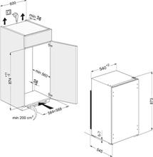 Maattekening WHIRLPOOL koelkast inbouw ARG450/A+