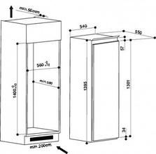 Maattekening WHIRLPOOL koelkast inbouw ARG8151 A++