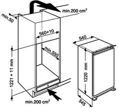 Maattekening WHIRLPOOL koelkast inbouw ARG861 A+