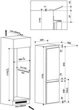 Maattekening WHIRLPOOL koelkast inbouw ART6500/A+