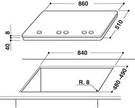 Maattekening WHIRLPOOL kookplaat gas-op-glas GOA9523NB
