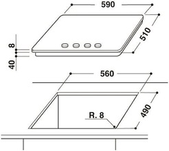 Maattekening WHIRLPOOL kookplaat gas-op-glas GOR6414NB